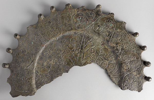 Plate with a Menorah and Torah Shrine, Bronze, incised decoration