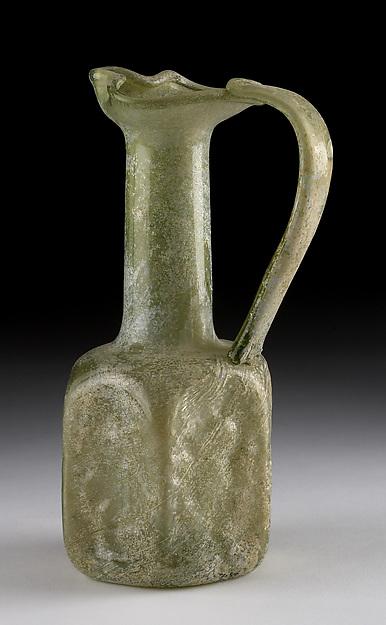 Hexagonal Pilgrim Jug, Glass, molded