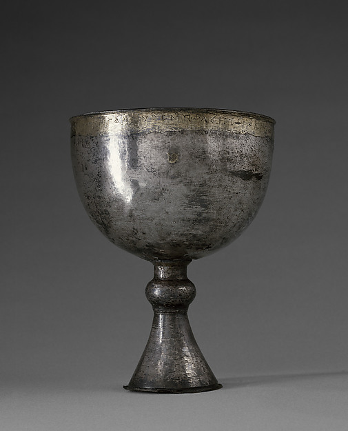 Chalice with Inscription in the Dialect of the Fayyum, Silver with gold and gilded silver inlay