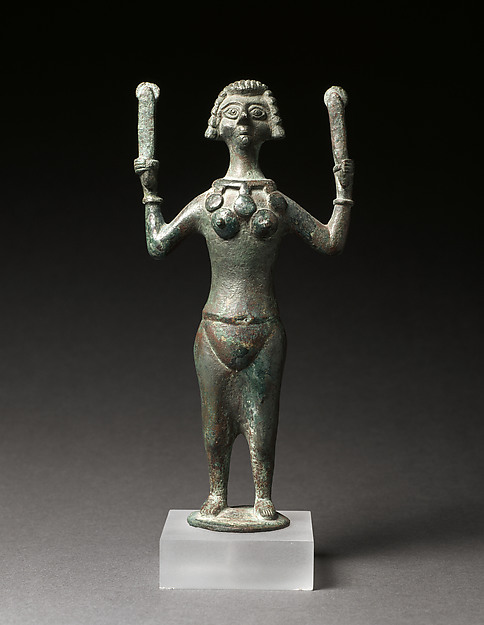 Statuette of a Woman Playing Crotales, Copper-based alloy