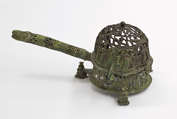 Censer with Standing Women, Copper alloy, cast in parts, pierced, and engraved