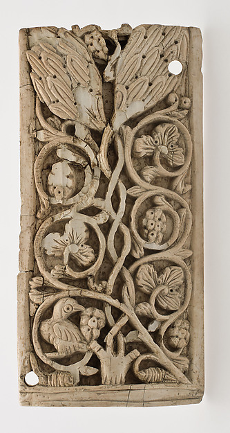 Plaque Decorated with Vine Scroll and a Bird, Carved ivory