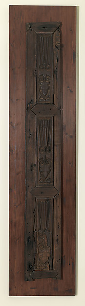 Door Panel with Lotus and Palmettes, Wood, carved