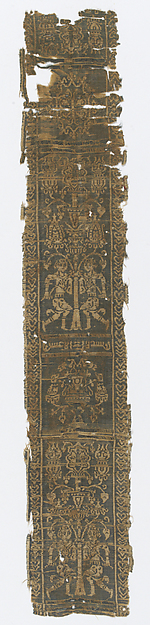 Fragment of a Band with Harvesters (?), Weft-faced compound twill ( samit ) in yellow and green silk