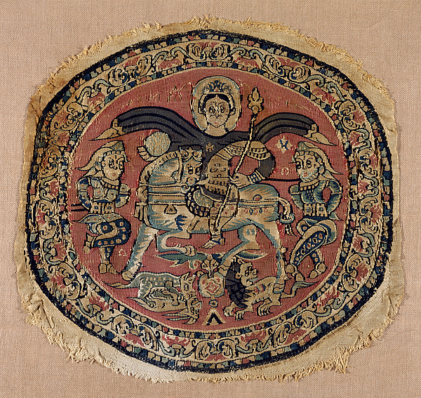 Roundel with a Byzantine Emperor, Probably Heraclius, Tapestry weave in red, pale brown, and blue wools and undyed linen on plain-weave ground of undyed linen