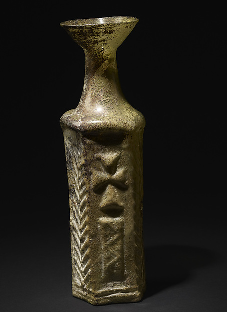 Hexagonal Bottle with Stylite, Glass, mold-blown, dull green
