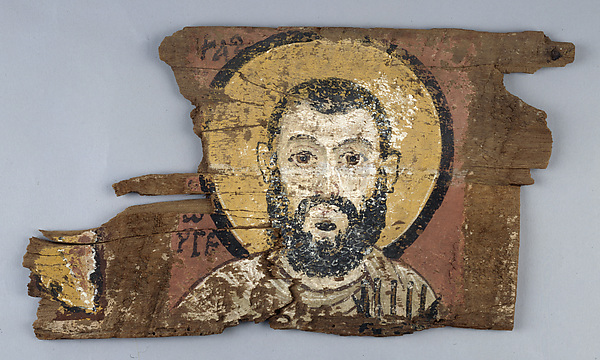 Fragment of a Panel with Brother George the Scribe, Tempera on Ficus sp.