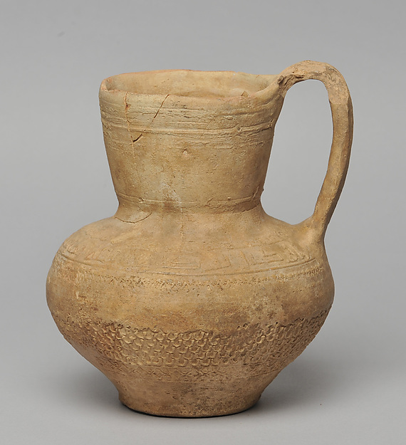Jug from Dayr 'Ayn 'Abata, Cream ware with roll-on stamp decoration