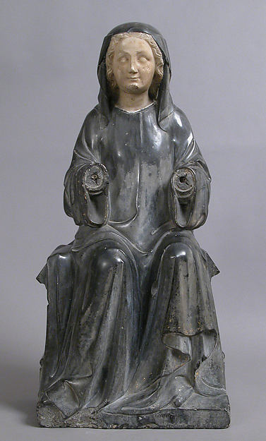 Virgin or Holy Woman, Black marble, white marble, traces of gilt, French