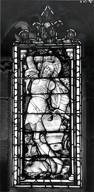 Panel with Saint George and the Dragon, Pot-metal glass and vitreous paint, German