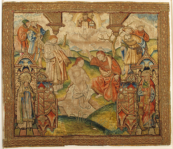 Baptism of Christ, Silk and metal thread on canvas(?), South Netherlandish