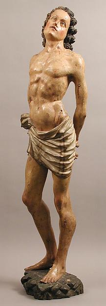 Saint Sebastian, European poplar, paint, gesso, Northern European