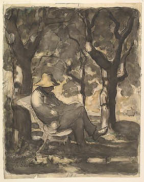 A Man Reading in a Garden (recto); Preliminary sketch for a Man Reading in a Garden (verso)