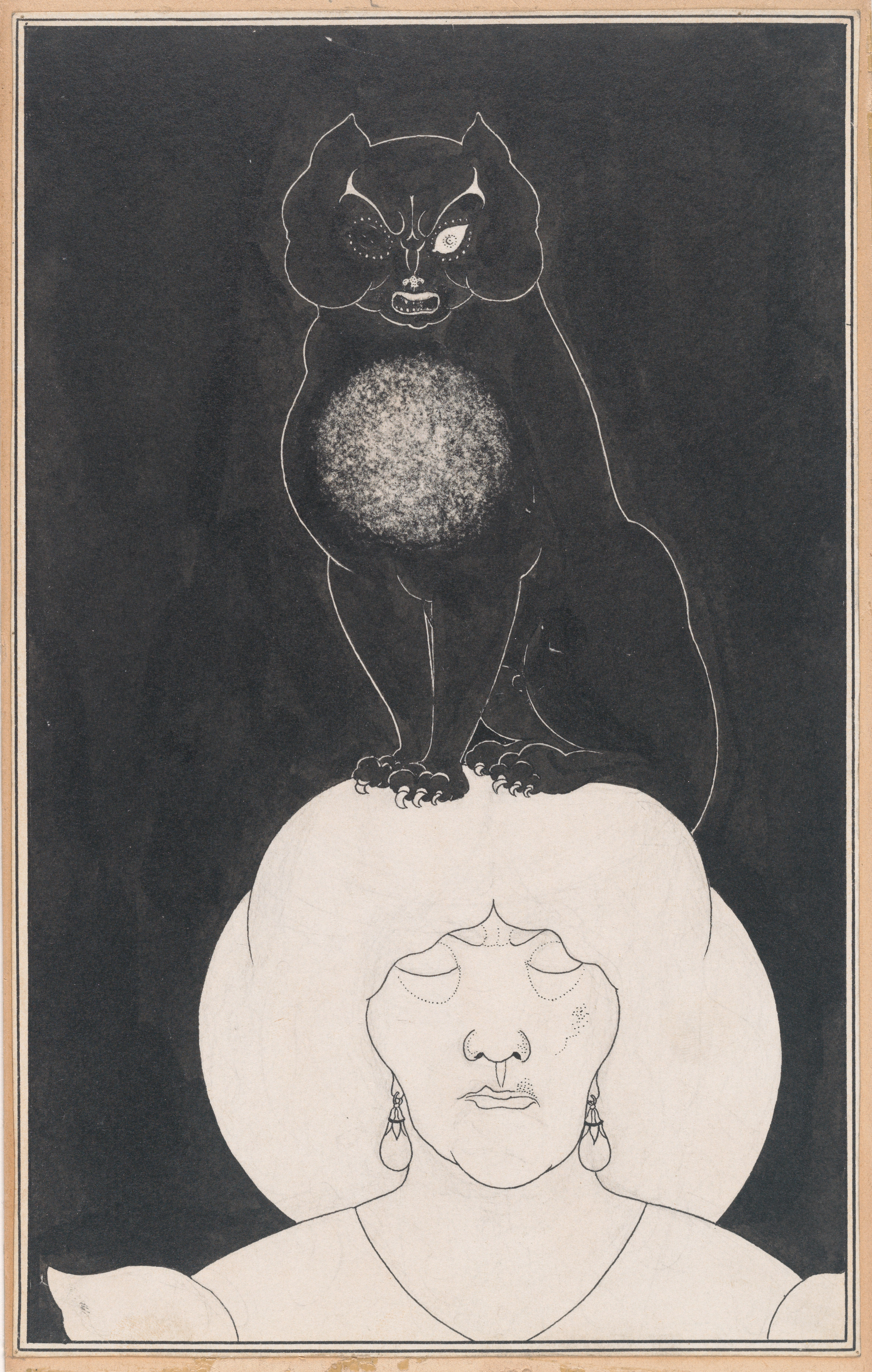 """Aubrey Beardsley's ilustration of the black cat, for Edgar Allan Poe's """"tales of mystery and the imagination""""."""