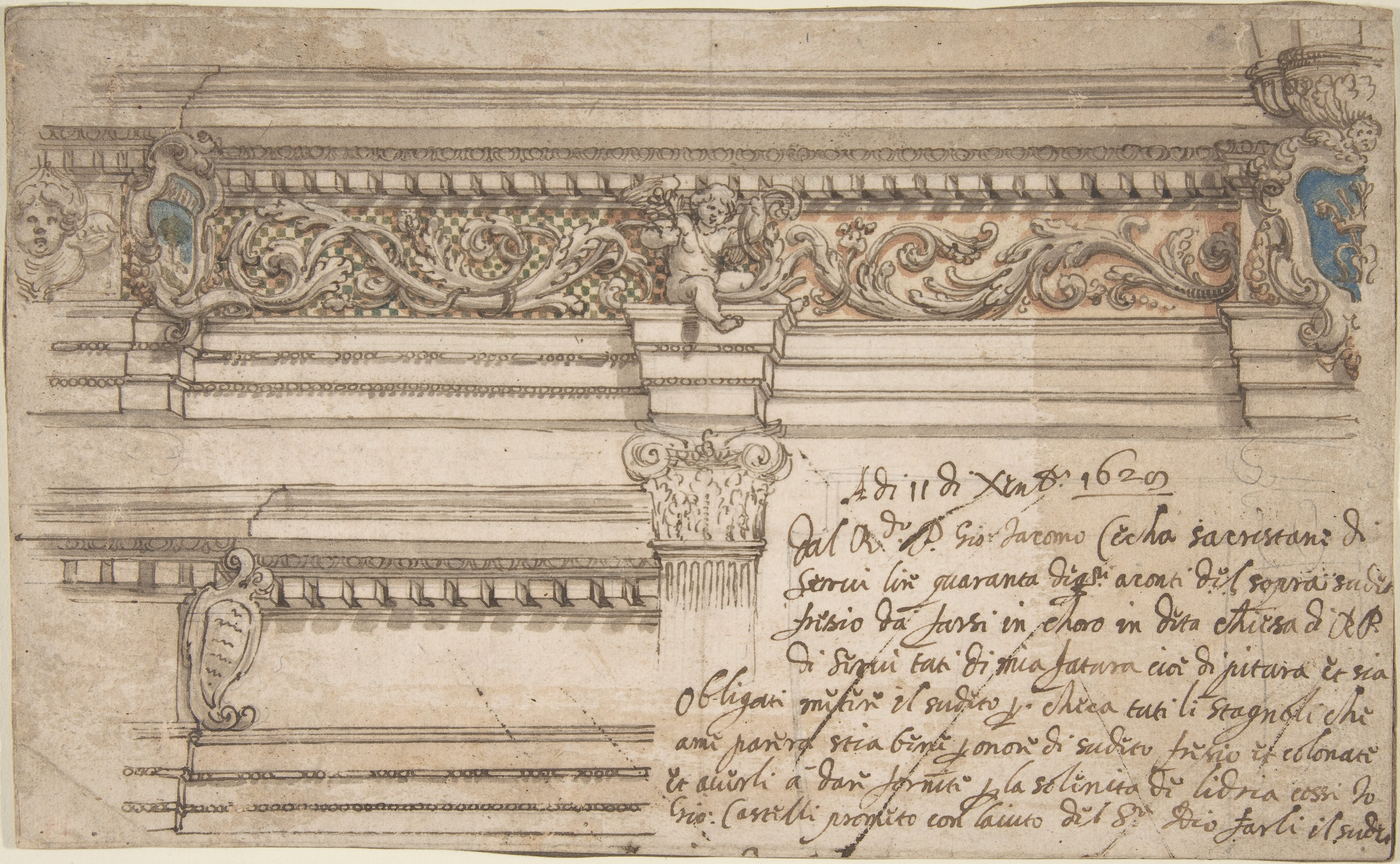 Giovanni Andrea Castelli | Design for Painted Corner and Frieze of ...