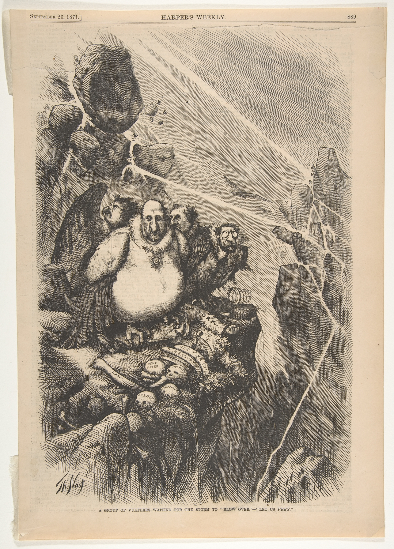 Thomas Nast A Group Of Vultures Waiting For The Storm To