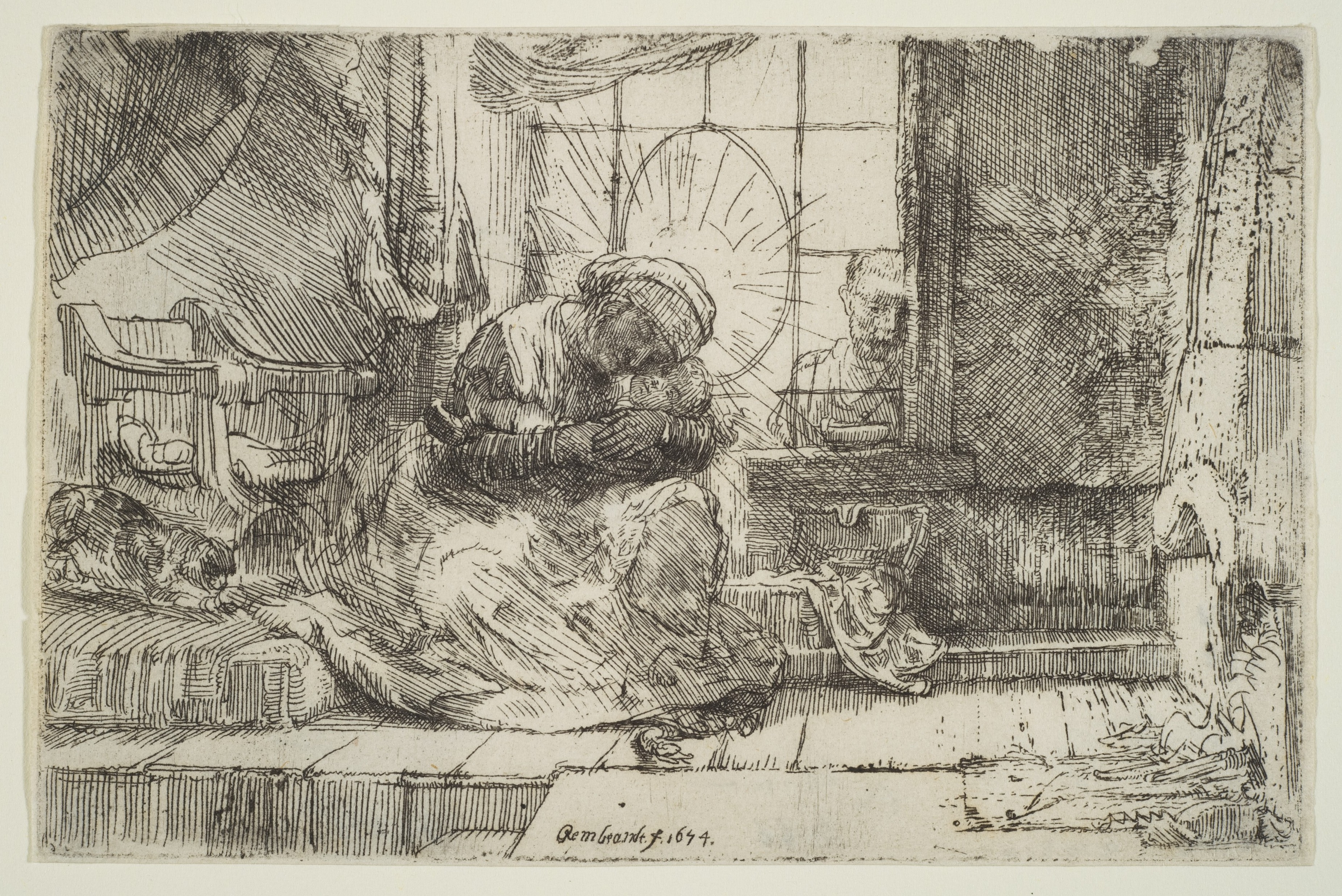 Rembrandt's etching of Mary, Jesus, Joseph and a cat.
