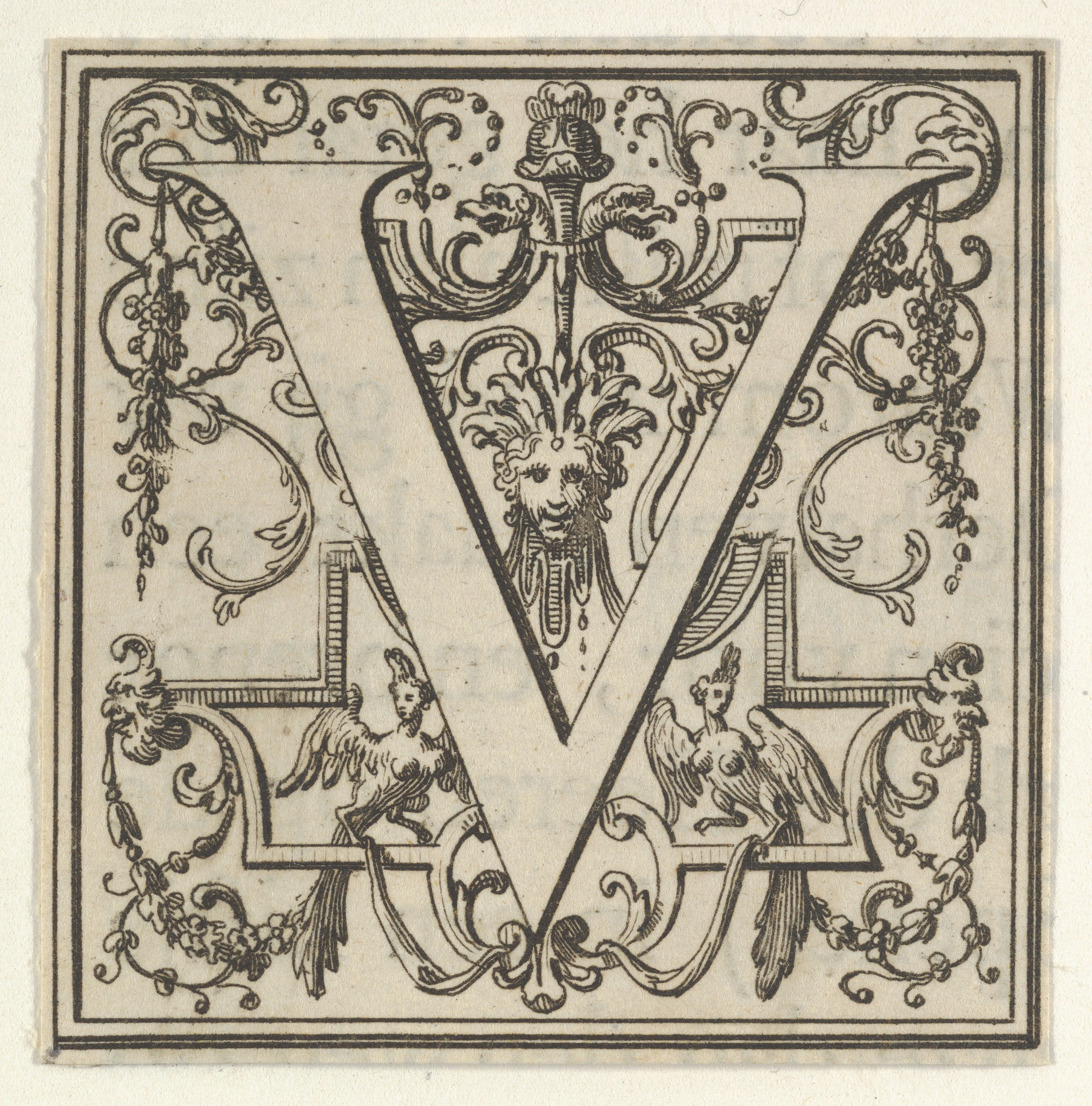 Roman Alphabet Letter V With Louis Xiv Decoration