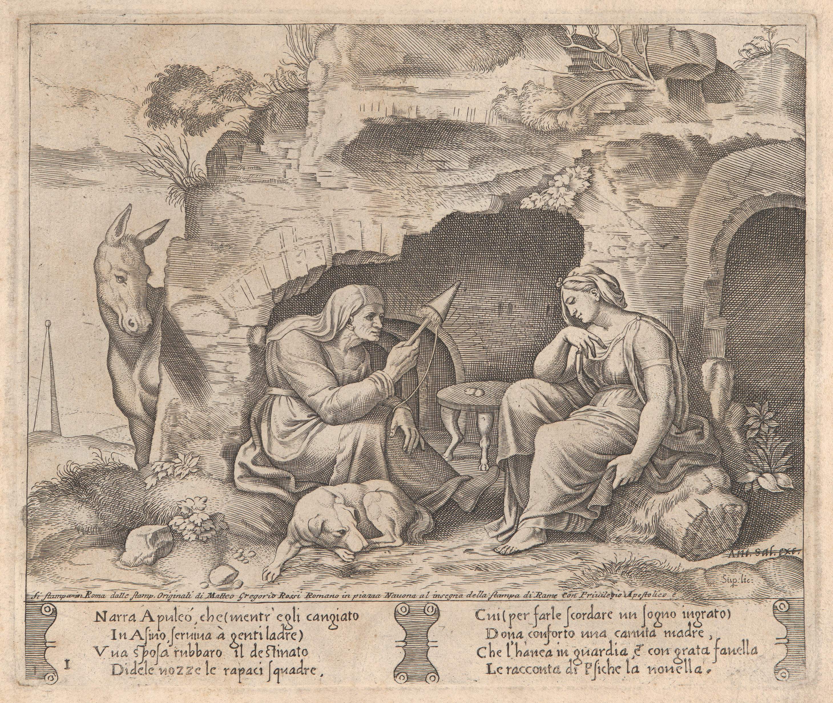 Master of the Die | Plate 1: Apuleius changed into a donkey
