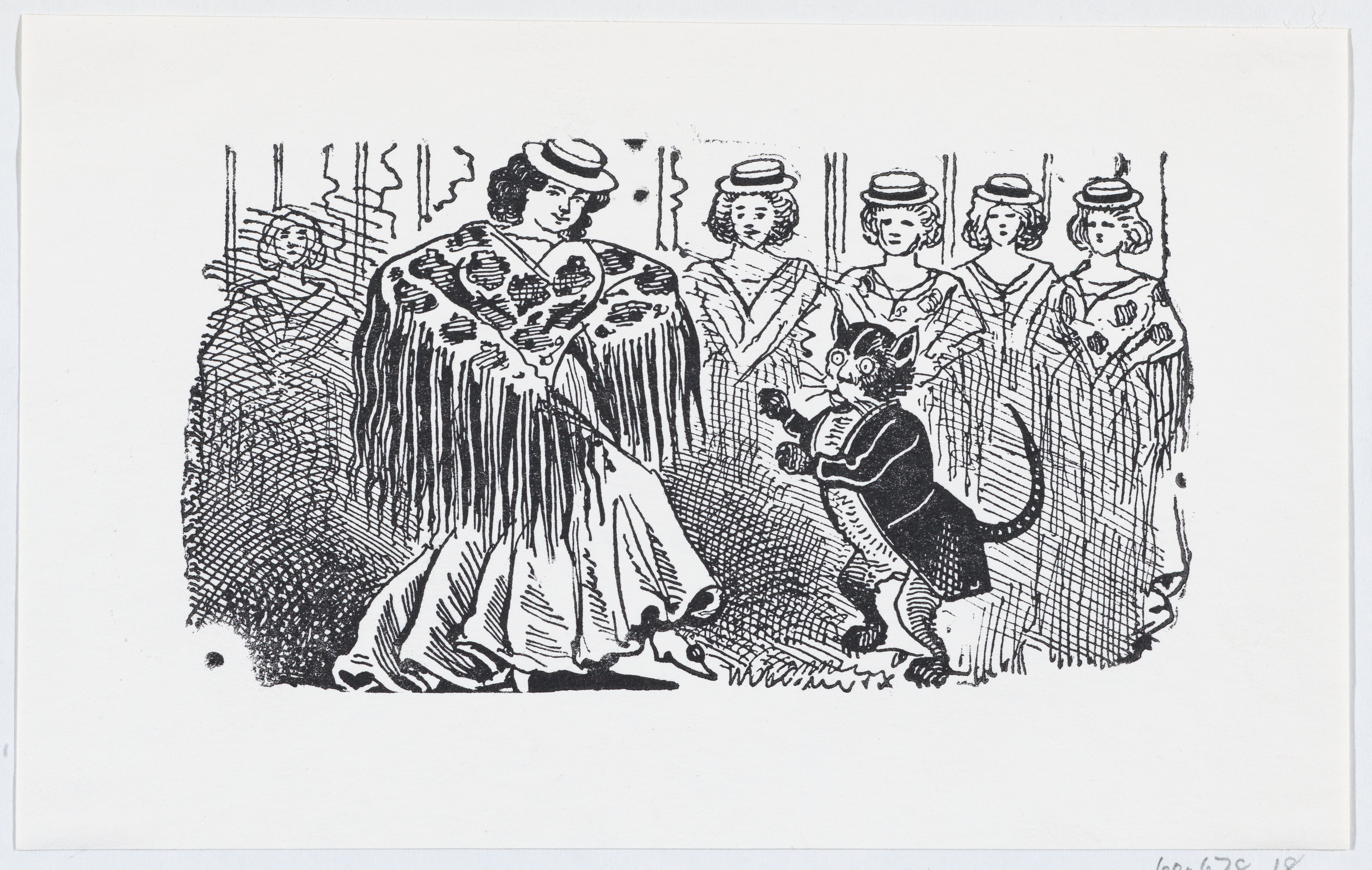 Ink illustration of a woman dancing with a cat in a suit.