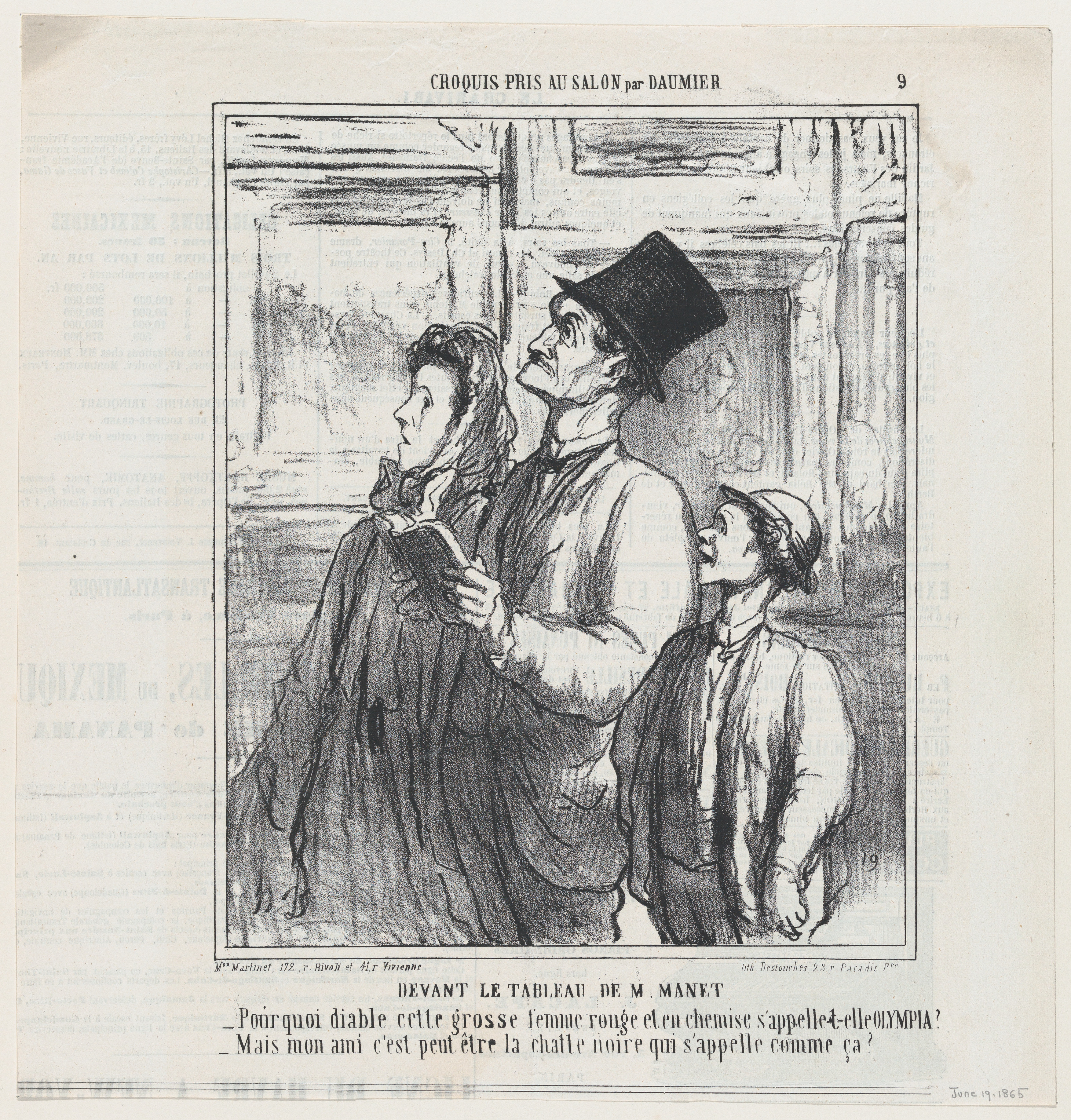 49622e2604f7 Honoré Daumier | Looking at a Manet painting, from 'Sketches from ...