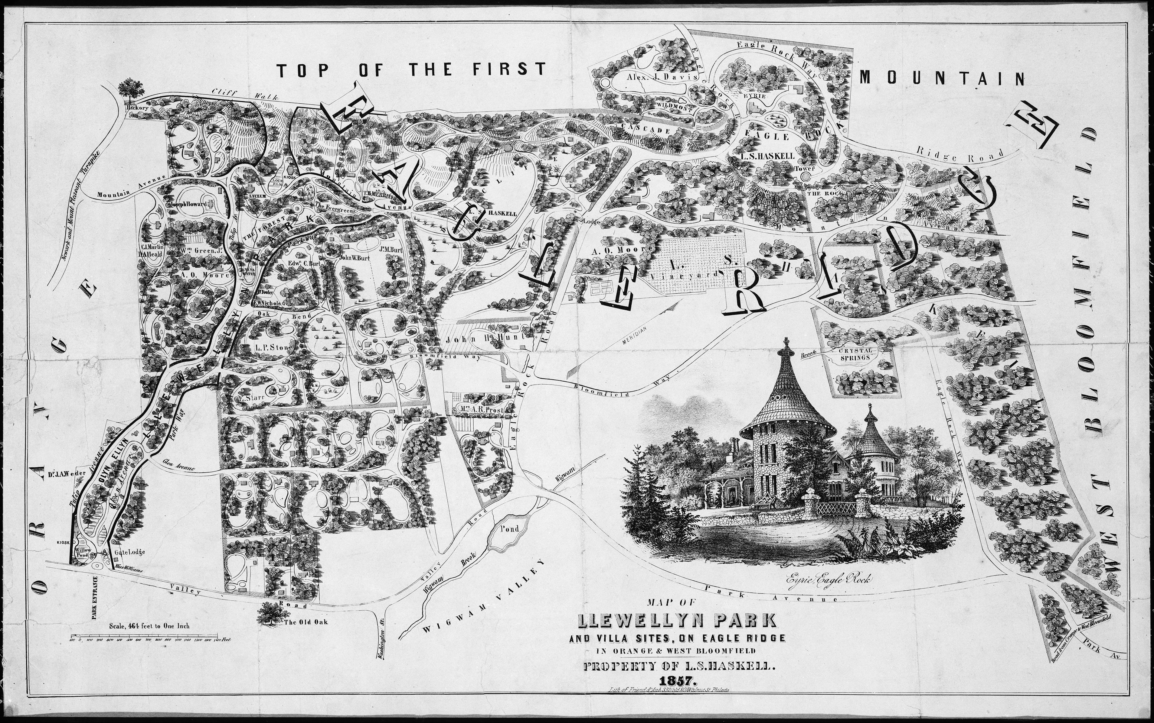 After Alexander Jackson Davis Map Of Llewellyn Park And
