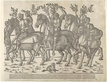 Figures on horseback, from 'The Triumph of Caesar', Jacob of Strasbourg (Italian School, born Alsace, active Venice, 1494–1530), Woodcut