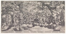 The Feast of the Gods at the Marriage of Cupid and Psyche, Hendrick Goltzius (Netherlandish, Mühlbracht 1558–1617 Haarlem), Engraving printed from three plates; second state