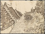 Street in Saintes-Maries-de-la-Mer, Vincent van Gogh (Dutch, Zundert 1853–1890 Auvers-sur-Oise), Reed pen, quill, and ink over chalk on wove paper (backed with wove paper)