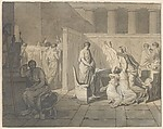 Study for The Lictors Bringing Brutus the Bodies of his Sons, Jacques Louis David (French, Paris 1748–1825 Brussels), Black chalk, pen and black and brown ink, brush and gray and brown wash, heightened with white gouache