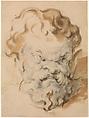 Head of Silenus, Paul Cézanne (French, Aix-en-Provence 1839–1906 Aix-en-Provence), Black chalk, brush and light brown wash