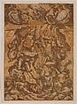 Fall of the Giants, Bartolomeo Coriolano (Italian, Bologna ca. 1599–ca. 1676 Bologna (?)), Chiaroscuro woodcut from three blocks, printed on four sheets