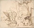 Barnyard Scene: two birds fighting (recto) Studies of Birds(verso), Anthonie van Borssom (Dutch, Amsterdam 1630/31–1677 Amsterdam), Pen and brown ink.