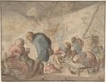 Peasants Drinking  verso: sketches of peasants, Attributed to Adriaen van Ostade (Dutch, Haarlem 1610–1685 Haarlem), Pen and brown ink, watercolor. Framing line in black ink & chalk verso: pen and brown ink