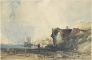 View on the Coast at Deal, Charles Bentley (British, London 1805/1806–1854 London), Watercolor with touches of gouache over graphite