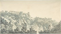 Tivoli, Villa of Maecenas and part of the Cascatelle, Copy (?) after John Robert Cozens (British, London 1752–1797 London), Pen and black ink, brush and blue-gray wash over graphite