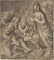Adoration of the Shepherds, Joachim Beuckelaer (Netherlandish, Antwerp 1533–1575 Antwerp), pen and brown ink, gray wash on brown paper, squared in red chalk