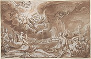 The Fall of Phaeton, Hendrick Goltzius (Netherlandish, Mühlbracht 1558–1617 Haarlem), Pen and brown ink, brown wash, heightened with white (slightly oxidized); brown ink framing lines; incised for transfer