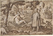 Discovery of America: Vespucci Landing in America, Jan van der Straet, called Stradanus (Netherlandish, Bruges 1523–1605 Florence), Pen and brown ink, brown wash, heightened with white, over black chalk. Incised