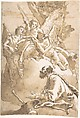 The Three Angels Appearing to Abraham by the Oaks of Mamre, Giovanni Domenico Tiepolo (Italian, Venice 1727–1804 Venice), Pen and dark brown ink, brush and brown wash, over black chalk (recto). Framing lines in pen and ink.  