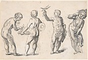 Four Putti representing the Four Elements, Rudolf Meyer (Swiss, Zurich 1605–1638 Zurich), Pen and black ink, brush and grey wash