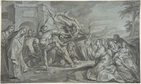 Christ Carrying the Cross, Johann Wolfgang Baumgartner (German, Kufstein 1712–1761 Augsburg), Brush and gray ink, pen and black ink, over graphite on blue paper