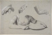 Studies of Hands, Louis Léopold Boilly (French, La Bassée 1761–1845 Paris), Charcoal (?) and crayon heightened with white