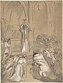 Mass, Théodore Chassériau (French, Le Limon, Saint-Domingue, West Indies 1819–1856 Paris), Brush, ink and gray wash, heightened with white over graphite on beige laid paper