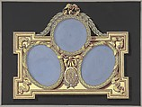 Design for silver or jewelry, Shop of Jacques-Charles-François-Marie Froment-Meurice (French, 1864–1948), Brown wash, blue, yellow, red, and black gouache, gold paint over graphite