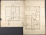 Studies of the Pavilion at Fonthill, Wiltshire and Plans of the Ground and First Floors (recto); Studies for the Pavilion in Tudor-Gothic Style (verso), Anonymous, British, 19th century, Graphite, pen and ink and wash