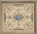 Design for Ceiling, Château de Cangé, Jules-Edmond-Charles Lachaise (French, died 1897), Watercolor and gouache