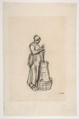 Woman with a Churn, Jean-François Millet (French, Gruchy 1814–1875 Barbizon), Conté crayon on wove paper