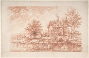 Farm House along a River, two figures at left, Attributed to Antoine Watteau (French, Valenciennes 1684–1721 Nogent-sur-Marne), Red chalk and some traces of black chalk at center.  Horizontal strip added at bottom of sheet.