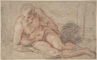 Reclining Nude Figure (recto); unidentifiable sketches (verso), Attributed to Antoine Watteau (French, Valenciennes 1684–1721 Nogent-sur-Marne), Red, black, and white chalks
